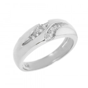 Men's 0.1ct Diamond Wedding Ring in 9ct White Gold