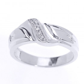 Men's 0.08ct Diamond Wedding Ring in 9ct White Gold