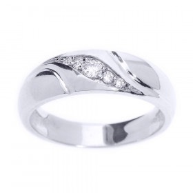 Men's 0.14ct Diamond Wedding Ring in 9ct White Gold