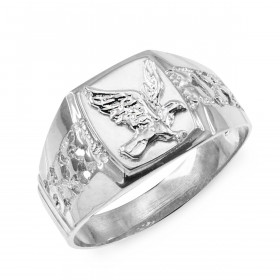 Men's Eagle Ring in 9ct White Gold