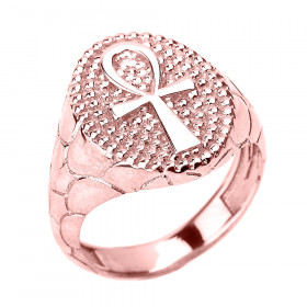 Men's Egyptian Ankh Cross Ring in 9ct Rose Gold