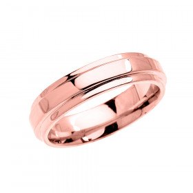 Men's Elegant Double Layered Decorative Wedding Ring in 9ct Rose Gold