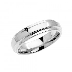 Men's Elegant Double Layered Decorative Wedding Ring in 9ct White Gold