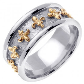 Men's Fleur-De-Lis Wedding Ring in 9ct Two-Tone Gold