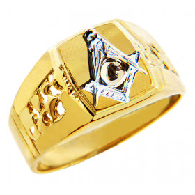 Men's Freemason Compass Ring in 9ct Two-Tone Gold