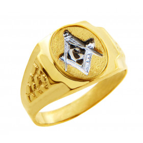 Men's Freemason Masonic Compass Ring in 9ct Two-Tone Gold