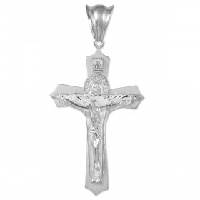 Men's Holy Trinity Crucifix Cross Pendant Necklace in 9ct White Gold