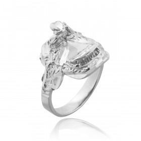 Men's Horse Saddle Ring in 9ct White Gold