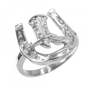 Men's Horseshoe Cowboy Boot Ring in 9ct White Gold