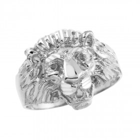 Men's Lion Head Ring in 9ct White Gold