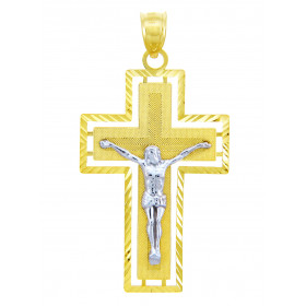 Men's Miraculous Crucifix Cross Pendant Necklace in 9ct Two-Tone Gold