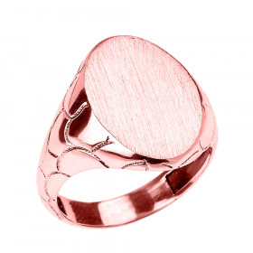Men's Oval Band Signet Ring in 9ct Rose Gold
