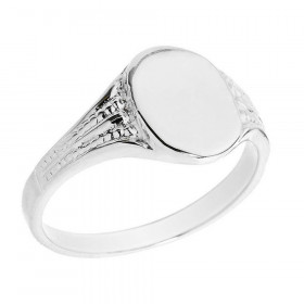 Men's Oval Signet Ring in 9ct White Gold