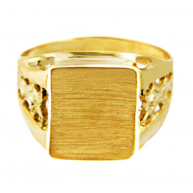 Men's Platform Signet Ring in 9ct Two-Tone Gold