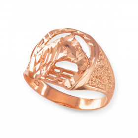 Men's Precision Cut Horse Head Horseshoe Ring in 9ct Rose Gold