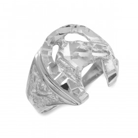 Men's Precision Cut Horse Head Horseshoe Ring in 9ct White Gold