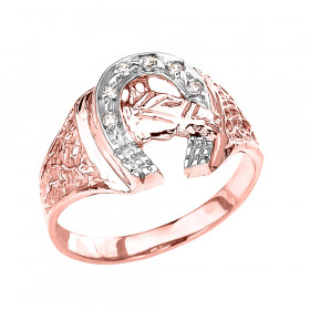 Men's 0.05ct Precision Cut Horseshoe Horse Head Ring in 9ct Rose Gold