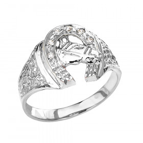 Men's 0.05ct Precision Cut Horseshoe Horse Head Ring in 9ct White Gold