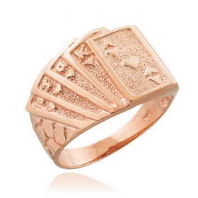 Men's Royal Flush Poker Ring in 9ct Rose Gold