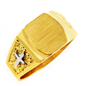 Men's Signet Ring in 9ct Two-Tone Gold
