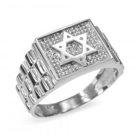 Men's Star of David Watchband Ring in 9ct White Gold