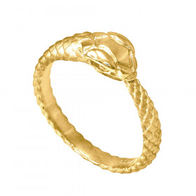 Men's Tail Biting Ouroboros Snake Thumb Ring in 9ct Gold