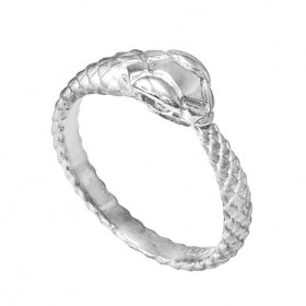 Men's Tail Biting Ouroboros Snake Thumb Ring in 9ct White Gold