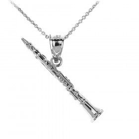 Men's Three Dimensional Clarinet Pendant Necklace in 9ct White Gold