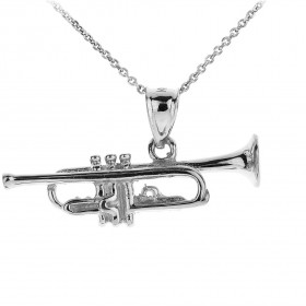 Men's Three Dimensional Trumpet Pendant Necklace in 9ct White Gold