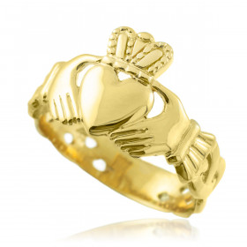 Men's Trinity Band Claddagh Ring in 9ct Gold