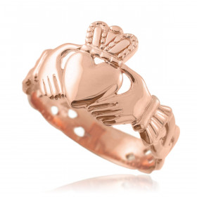 Men's Trinity Band Claddagh Ring in 9ct Rose Gold