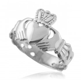 Men's Trinity Band Claddagh Ring in Sterling Silver