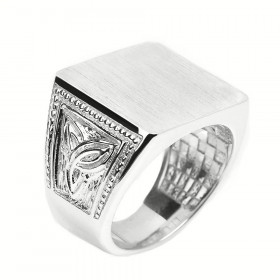 Men's Trinity Knot Signet Ring in Sterling Silver