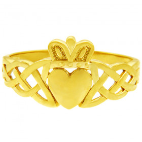 Men's Variation Trinity Band Claddagh Ring in 9ct Gold