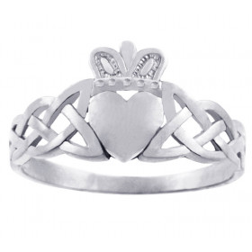Men's Variation Trinity Band Claddagh Ring in 9ct White Gold