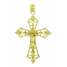 Men's Worship Crucifix Cross Pendant Necklace in 9ct Gold