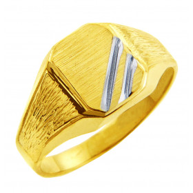 Men's Zeus Signet Ring in 9ct Two-Tone Gold