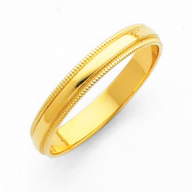 Milgrain Classic Wedding Ring in 9ct Gold