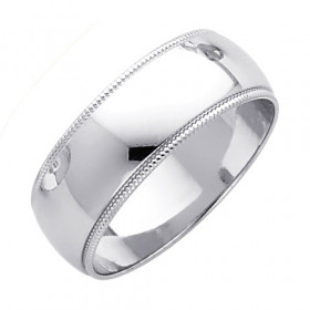 Milgrain Classic Wedding Ring in 9ct White Gold
