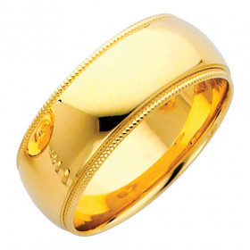 Milgrain Comfort Fit Wedding Ring in 9ct Gold