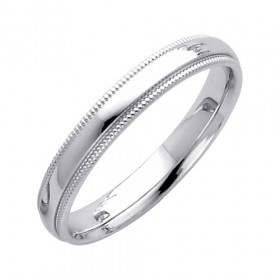 Milgrain Comfort Fit Wedding Ring in 9ct White Gold