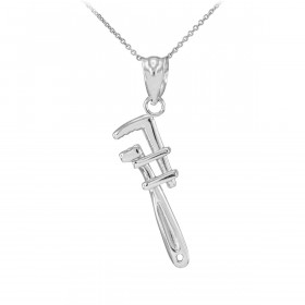 Monkey Wrench Pendant Necklace in 9ct White Gold