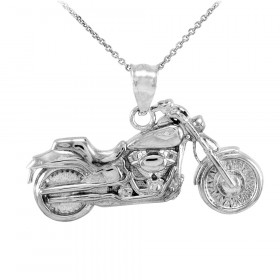 Motorcycle Charm Pendant Necklace in 9ct White Gold