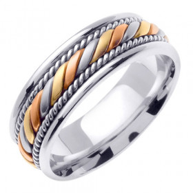 Multi-Tone Hand Braided Celtic Wedding Ring in 9ct White Gold