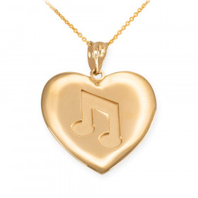 Musical Note Heart Pendant Necklace in 9ct Gold