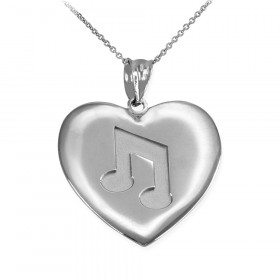 Musical Note Heart Pendant Necklace in Sterling Silver