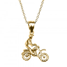 Off Road Mountain Motorcycle Charm Pendant Necklace in 9ct Gold