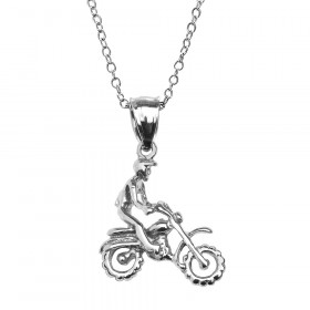 Off Road Mountain Motorcycle Charm Pendant Necklace in Sterling Silver