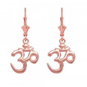 Om (Ohm) Leverback Earrings in 9ct Rose Gold