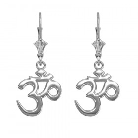 Om (Ohm) Leverback Earrings in 9ct White Gold
